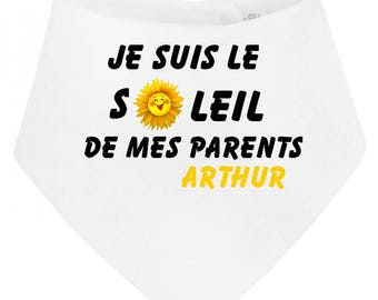 Baby bandana bib I am the Sun... personalized with name