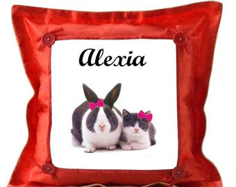 Red pillow and Bunny personalized with name