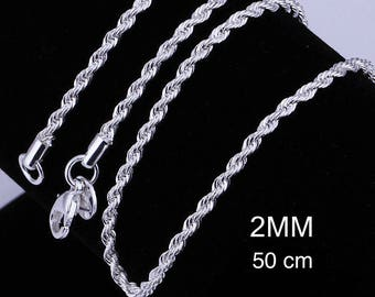 1 x beautiful twisted chain 2mm silver hallmarked 925 with lobster clasp (50cm)