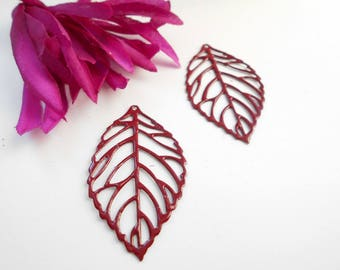 x 2 dark red leaf prints