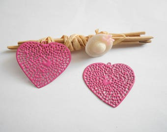 Pink enameled heart x 2 pendants