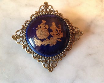 Brooch vintage blue porcelain oven decor gold