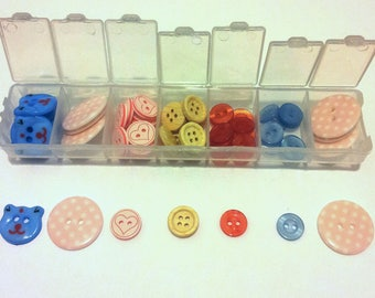 Box of 52 buttons - mixed - multicolor T5