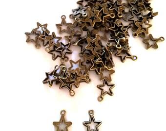 Set of 30 charms stars bronze metal T33