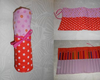clutch pencil roll - orange and pink