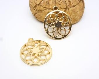2 charms round mandala Buddhist 23 * 20mm, gold (8SBD61)
