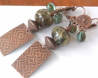 Earrings trendy copper craft and glass beads