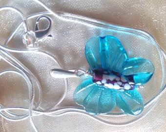 Butterfly pendant, silver bail and silver chain