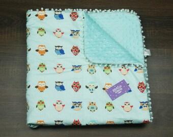 "Personalized Baby Cotton & Plush Blanket ""Owls"" Aquamarine, Swaddle Blanket, Nursery Blanket, Newborn blanket, Newborn Receiving Blankets"