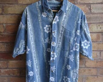Vintage flower print short sleeve shirt