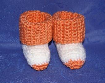 orange and white baby Bootie