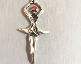 DANCER + 1 red RHINESTONE silver metal