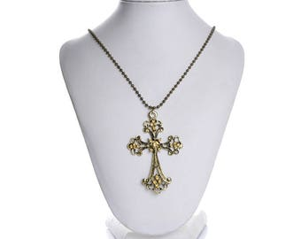 Cross with champagne rhinestone Flower necklace