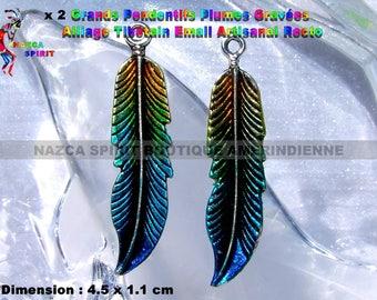 2 feathers native Americans of 4.5 cm x 1.1 cm silver-plated Tibetan artisan enamel
