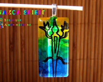 "Native American rectangular glass Cabochon pendant handmade ""Lizard of Nazca"" of 6 cm x 2.5 cm"