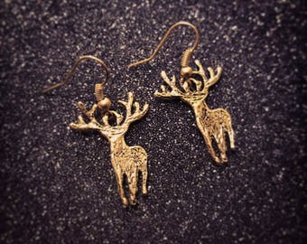 Golden deer earrings