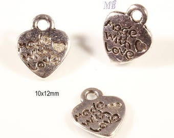 """20 charms pendant """"made with love""""heart silver 15x12mm"""