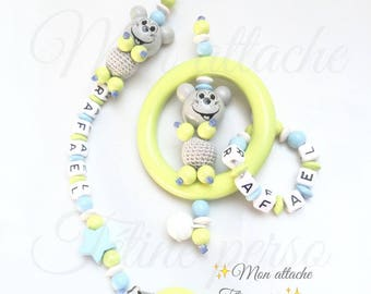 Personalized rattle and pacifier clip duo ~ model green mouse