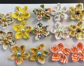 14 flowers kanzashi, 35mm, flower, to customize your creations, embellishment purse, hairclip, brooch, scrapbooking, flower jewelry