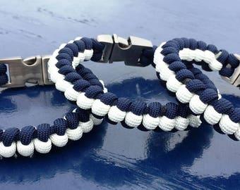 Bracelet paracorde bleu et blanc