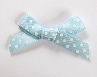 10 x 7mm Satin ribbon bow: Blue - 001068