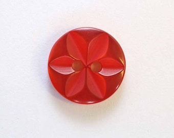 14 mm x 100 Red 2 hole - 001622 star button