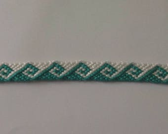 Green and white wave Friendship Bracelet
