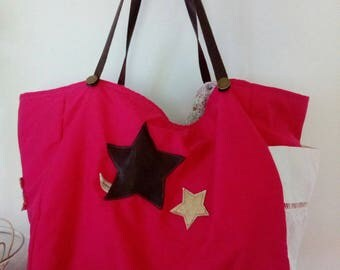 Pink and floral cotton tote bag