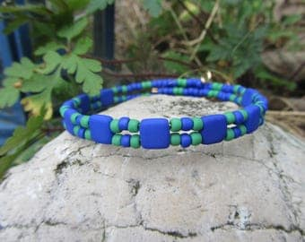Bangle, Bangle, glass miyuki tila beads and seed beads toho in blue and bright green