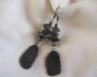 Handmade earrings in white, Slate, iron gemstone and Bohemian, anthracite gray and shiny, metal gun, long dangle grey glass
