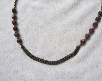 short necklace, original and ethnic, flat metal chain bronze, Burgundy Red Czech glass faceted round beads