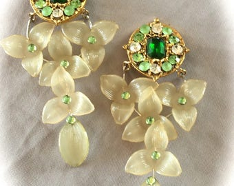 Designer clip earrings vintage cascade of flowers