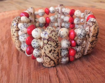 Réglise jupati seeds bracelet, and royal Palm / vegetable coral / tropical seeds / women gift