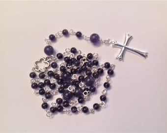 Rosary with silver-plated non tarnish and high quality Amethyst beads / stone of wisdom