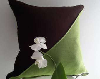 Cushion cover 40 x 40 cm organic linen Brown and green