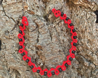 Red cotton tatted lace Choker black glass beads