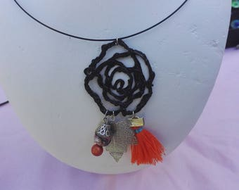 Orange rose necklace