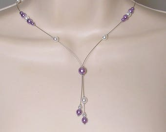 Bridal pearls - Classic Collection - Cristelina - wedding party necklace - bridal necklace purple white pearls