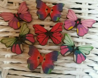 set of 7 butterflies xxxxxx wooden buttons