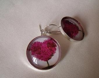 SALE earrings silver cabochon 25mm glass heart tree