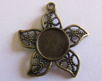 bronze flower pendant (31mmx29mm) for cabochon 12mm