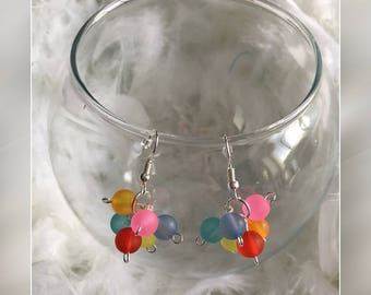 Silver and multicolored earrings
