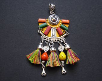 Charm leather Mexican cotton tassel and reconstituted turquoise beads