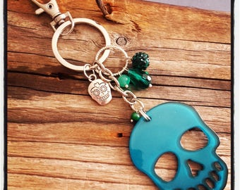 handbag charm / key theme skull and blue beads