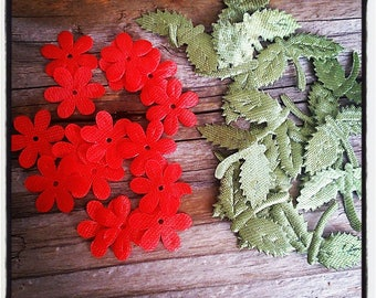 Set of 12 red flowers and green fabric leaves for scrapbooking and creations