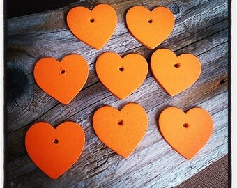 orange set of 8 wooden hearts charms 30 mm