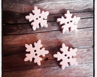4 wood 20 mm beige snowflake buttons