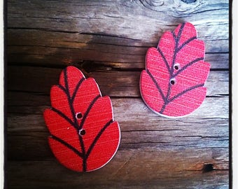 set of 2 sheets of red wood - 30 x 20 mm buttons