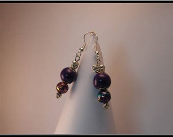 Pearl Stud Earrings polymer clay purple and glass beads.