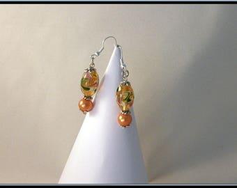Italian style orange beige glass Pearl bead earrings